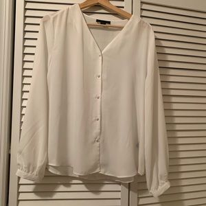 Worn Once! White button down blouse. Size Large